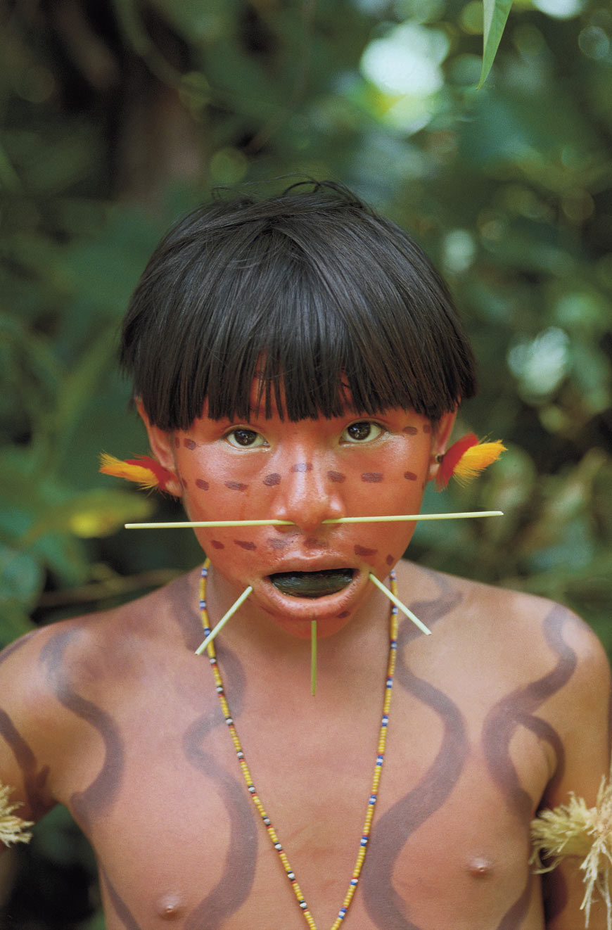 Yanomami girl with tobacco.